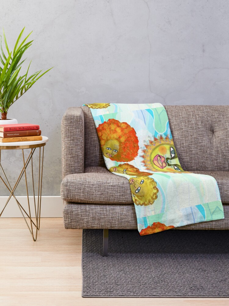 Alternate view of The Sun and the Afro Soul Sisters Throw Blanket