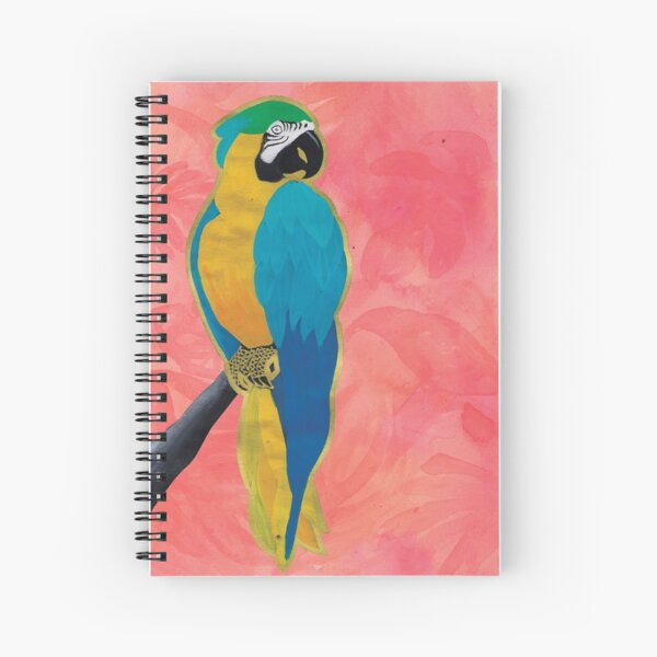 Parrot on Pink Spiral Notebook