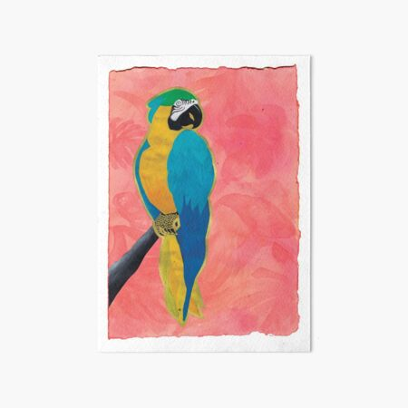 Parrot on Pink Art Board Print