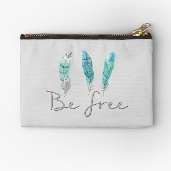 Be Free Watercolour Feathers Tatra Cottage Zipper Pouch