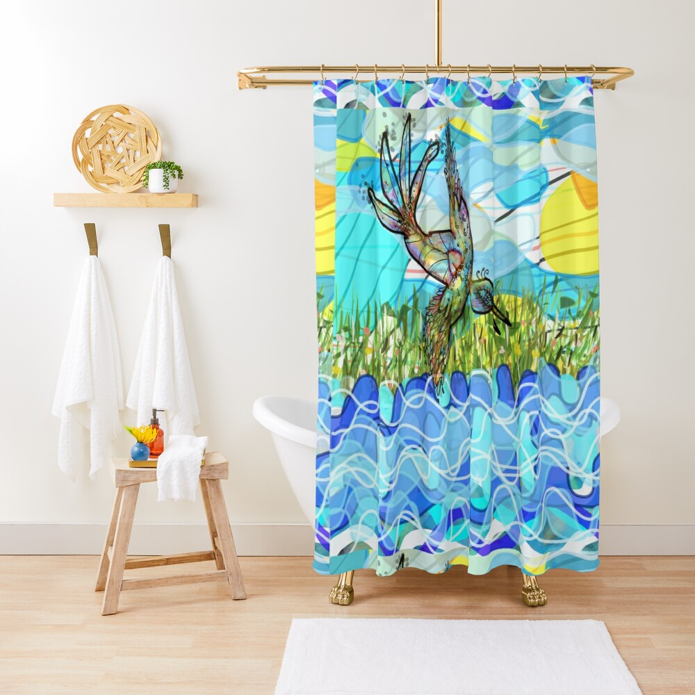 The bird and the river Shower Curtain
