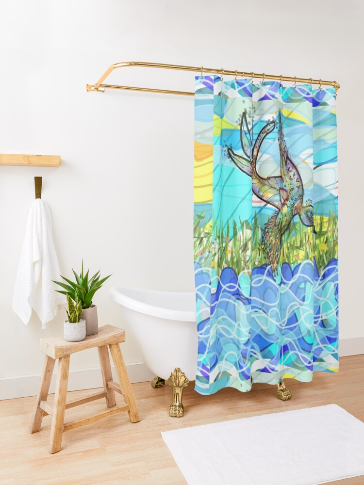 Alternate view of The bird and the river Shower Curtain