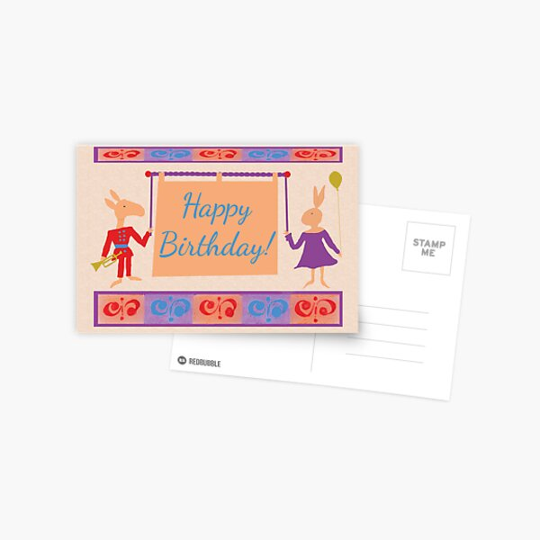 Whimsical Adult or Child Birthday - donkey & rabbit Postcard
