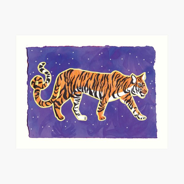 Tiger on Purple Art Print