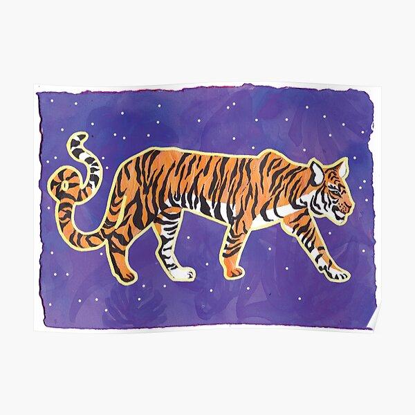 Tiger on Purple Poster