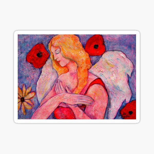 Belle, Angel image part of an Angel oracle card deck – MeMoment angel cards Sticker