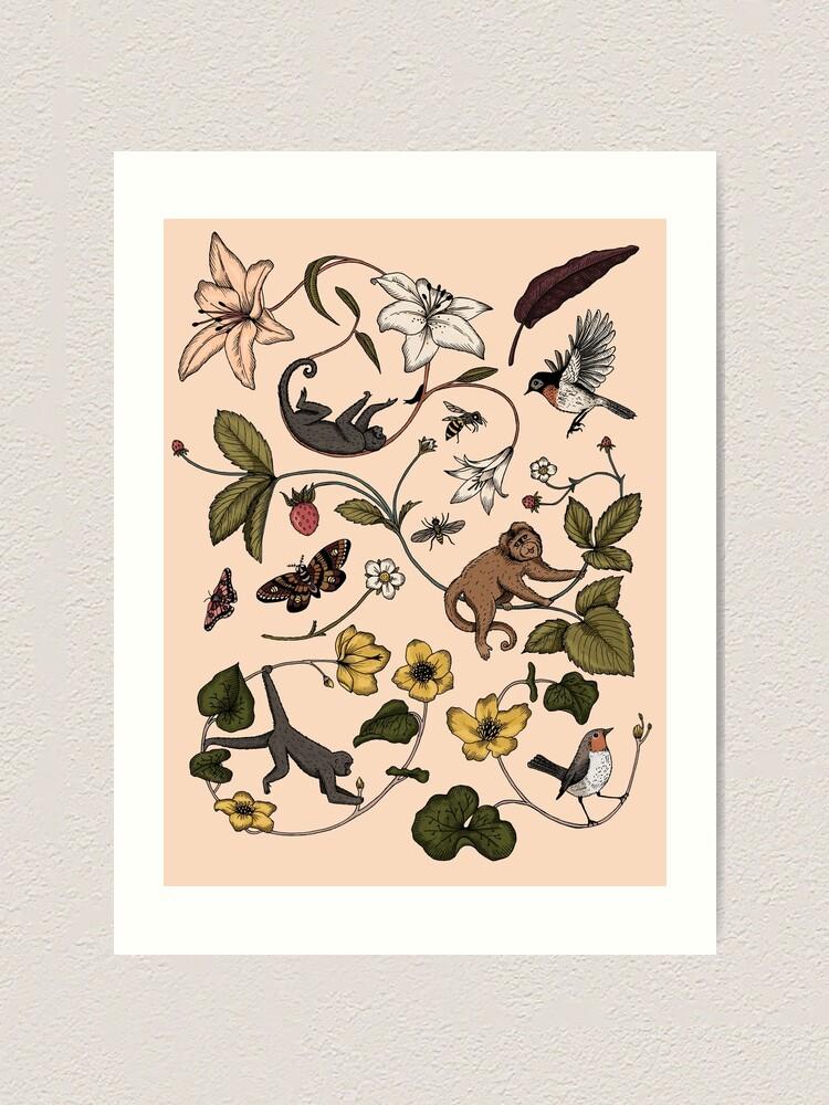 Alternate view of Monkeys in the Mist - pink Art Print