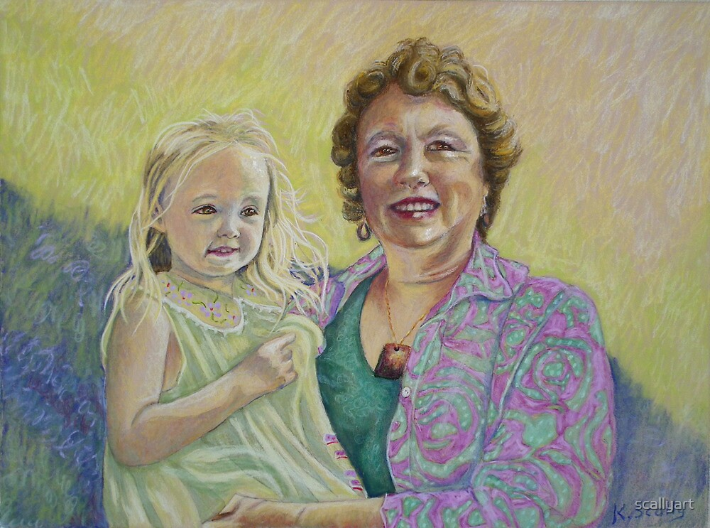 Zara and Dianne Pastel Portrait by scallyart