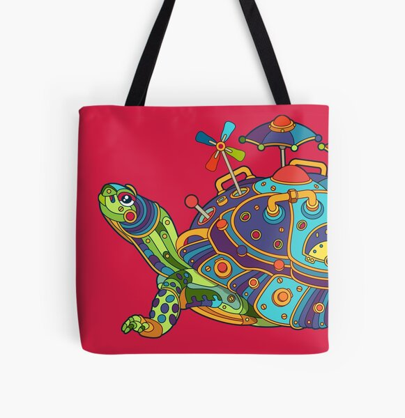 Turtle All Over Print Tote Bag