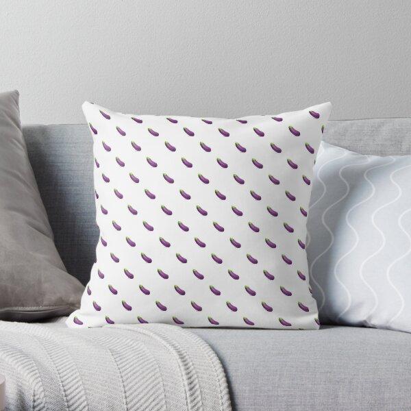 Eggplant Emoji Pattern Throw Pillow