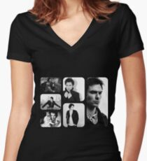 Ian Somerhalder in Black and White Women's Fitted V-Neck T-Shirt