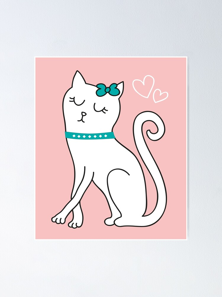 Diva White Kitten Cartoon Crazy Cat Lady Kitty Lover Poster By Loveandserenity Redbubble