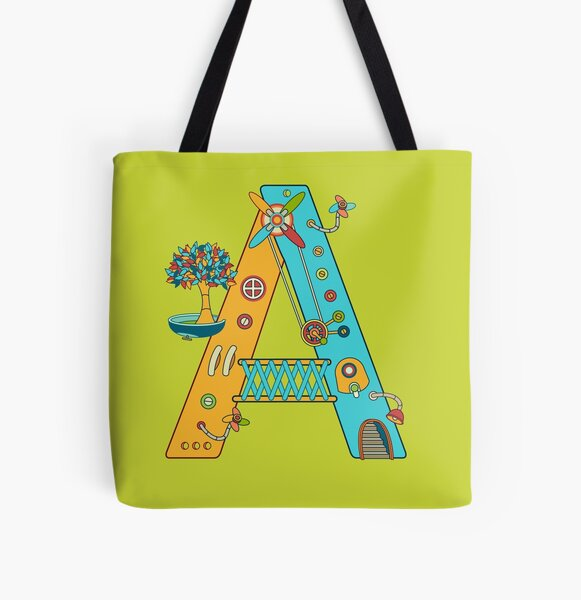 A for Armadillo, from the AlphaPod collection All Over Print Tote Bag