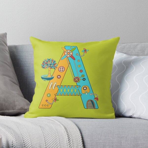 A for Armadillo, from the AlphaPod collection Throw Pillow
