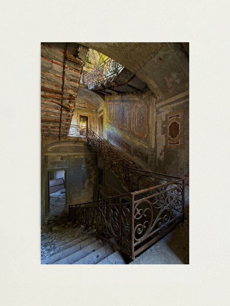 Alternate view of A gorgeous staircase of an abandoned villa  Photographic Print