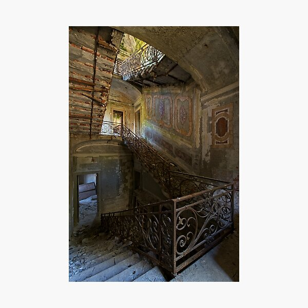 A gorgeous staircase of an abandoned villa  Photographic Print