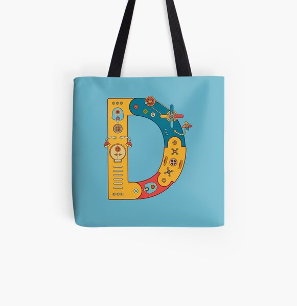 D for Dinosaur, from the AlphaPod collection All Over Print Tote Bag