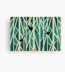 Tui and Fantail on Trees Canvas Print