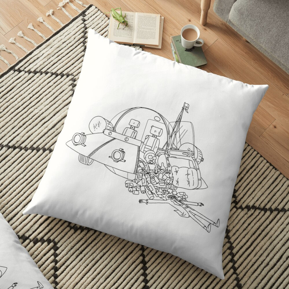 Rick and Morty in the spaceship | Rick and Morty Gadget Floor Pillow