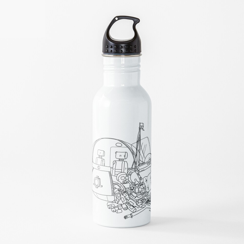 Rick and Morty in the spaceship   Rick and Morty Gadget Water Bottle
