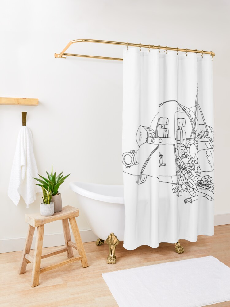 Alternate view of Rick and Morty in the spaceship | Rick and Morty Gadget Shower Curtain