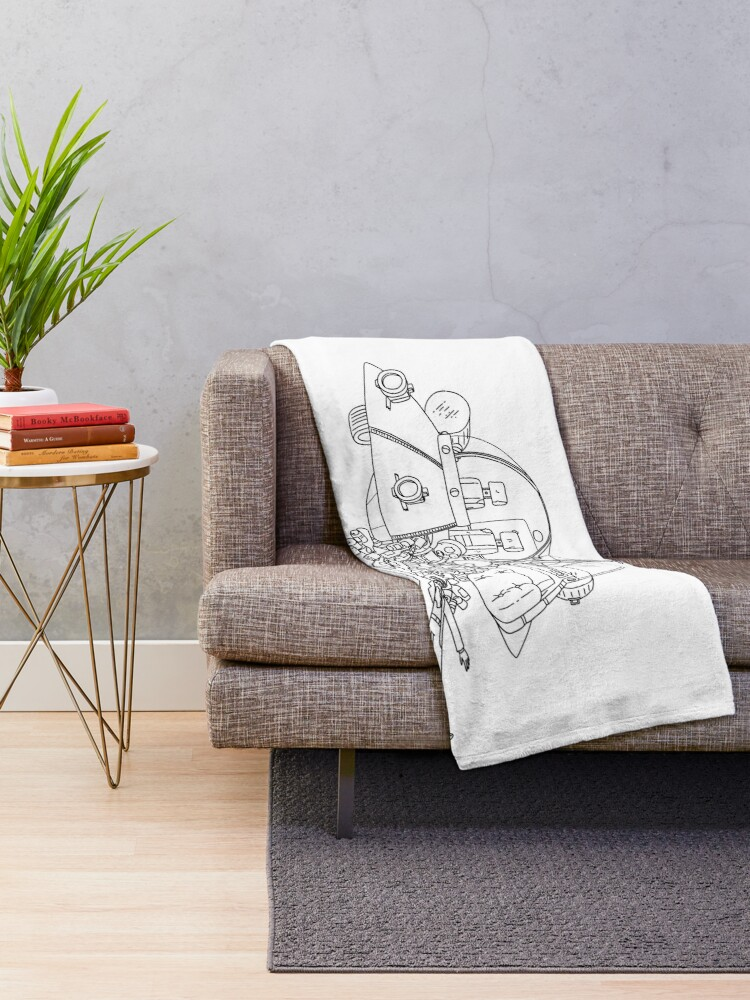 Alternate view of Rick and Morty in the spaceship | Rick and Morty Gadget Throw Blanket