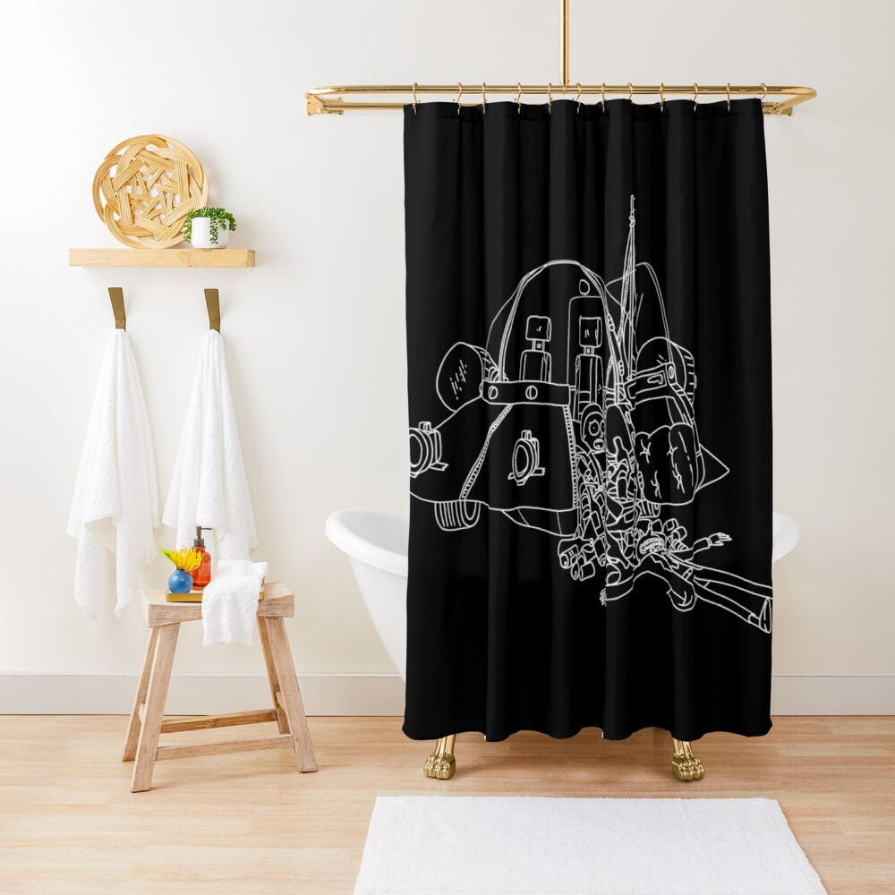 Rick and Morty in the spaceship   Rick and Morty Gadget Shower Curtain