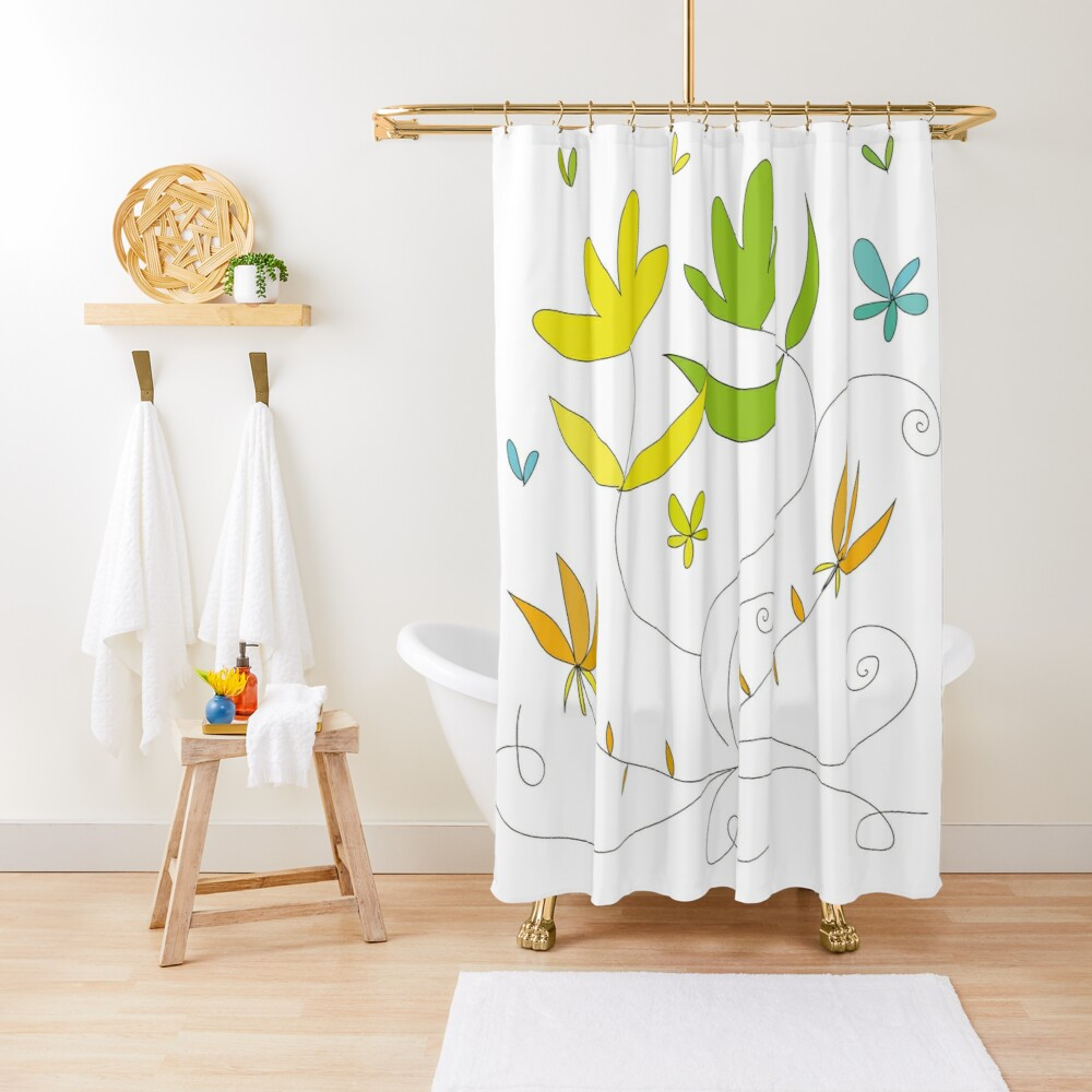 Happy flowers \ by Suzies Sparrow Shower Curtain
