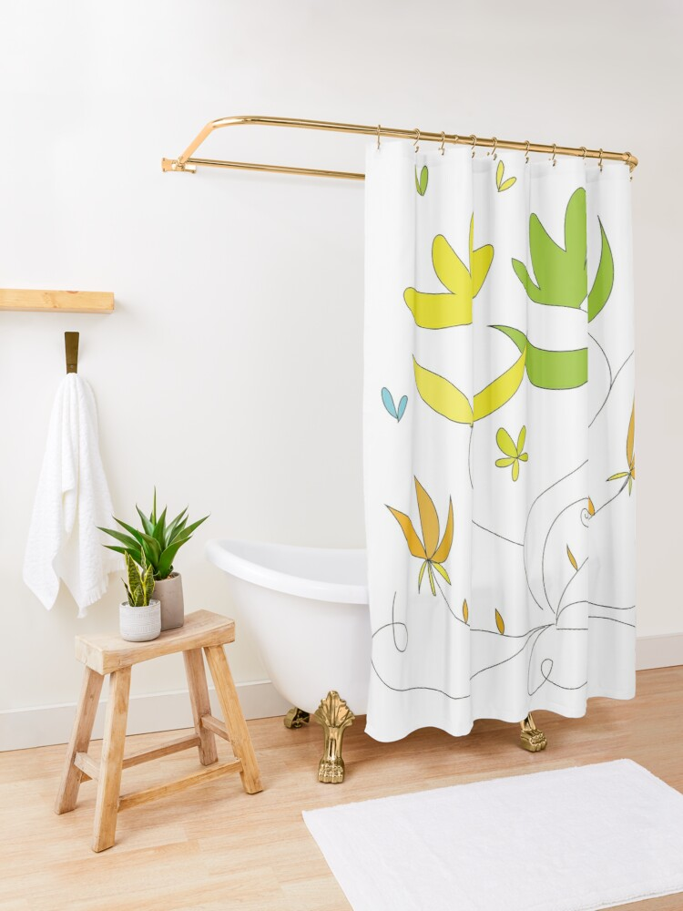 Alternate view of Happy flowers \ by Suzies Sparrow Shower Curtain