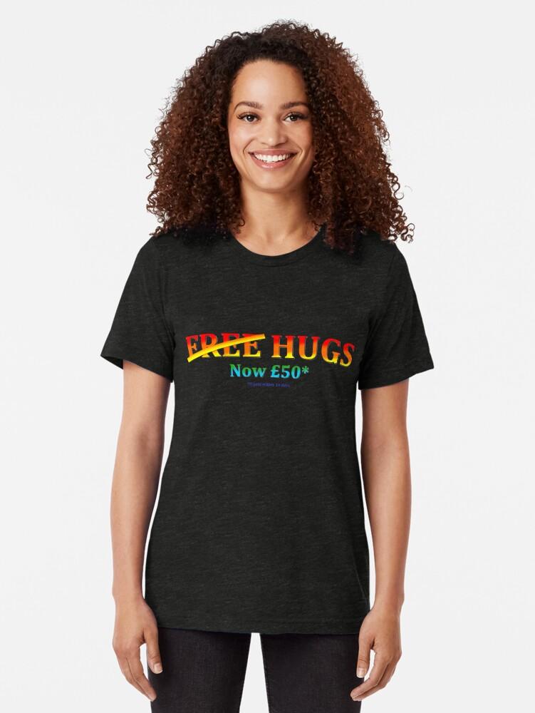 "Alternate view of ""Free Hugs"" Tri-blend T-Shirt"