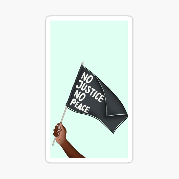 "BlackLives Matter - ""No Justice No Peace"" Flag Sticker"