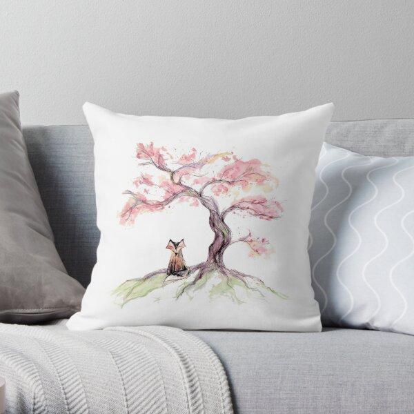 Cherry Sakura Fox Throw Pillow