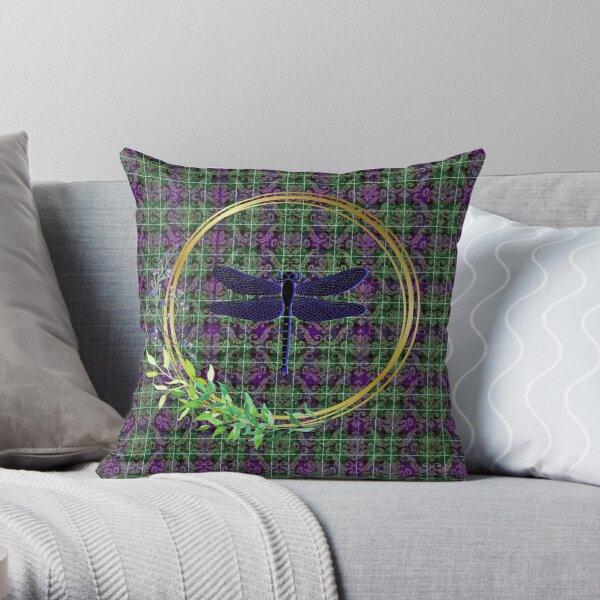 Tartan Dragonfly Damask Throw Pillow