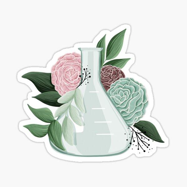 Frasco Erlenmeyer Floral Pegatina