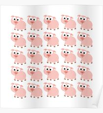 Cute Pink Pig Overload Poster