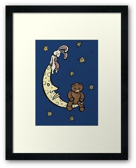 Teddy Bear and Bunny - Caught In The Moonlight by Brett Gilbert