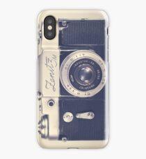 Retro - Vintage Black Camera on Beige Background  iPhone Case/Skin