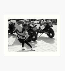 Kung Fu Motor Girl - BW Art Print
