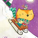 Cute Merry Christmas Cat on sleighs (with mice:) by colonelle