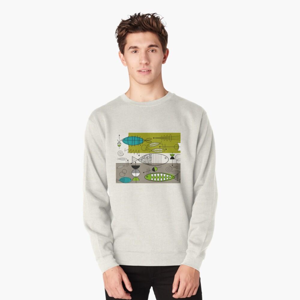 Mid-Century Modern Fish Art Pullover Sweatshirt