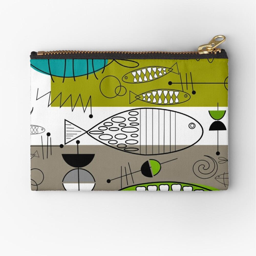 Mid-Century Modern Fish Art Zipper Pouch