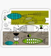 Mid-Century Modern Fish Art Sticker