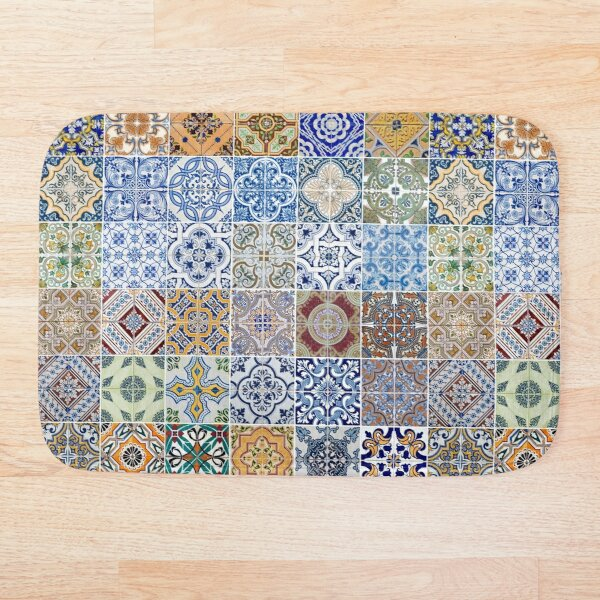 Set of 48 ceramic tiles patterns Bath Mat