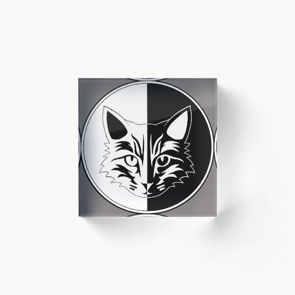 YinYang Katzen Logo mit Style 2 invertiert Acrylblock