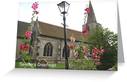 christmas card pretty english village church scene greeting cards