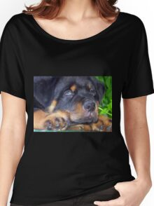 Photographic Portrait Of A Young Male Rottweiler Women's Relaxed Fit T-Shirt