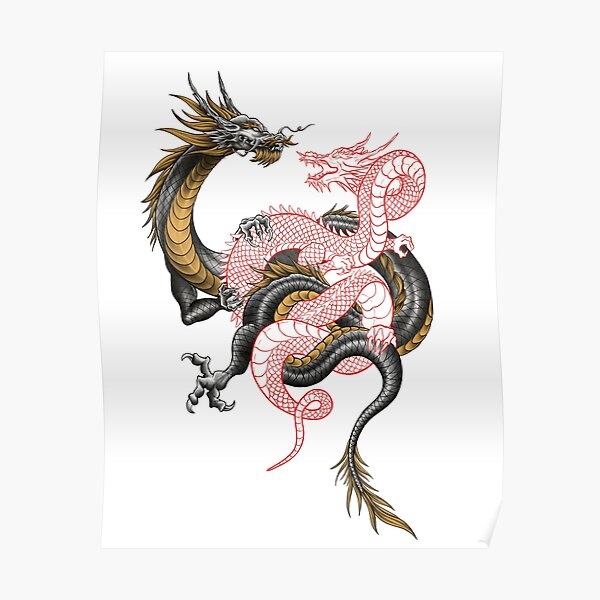 Chinese Dragon Tattoo Posters Redbubble