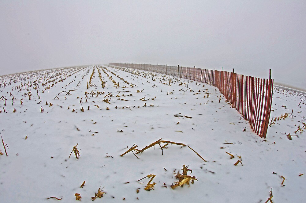 Fence In The Snow by jpsphotoart