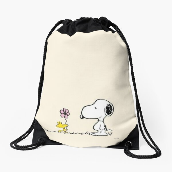 snoopy and woodstock  Drawstring Bag