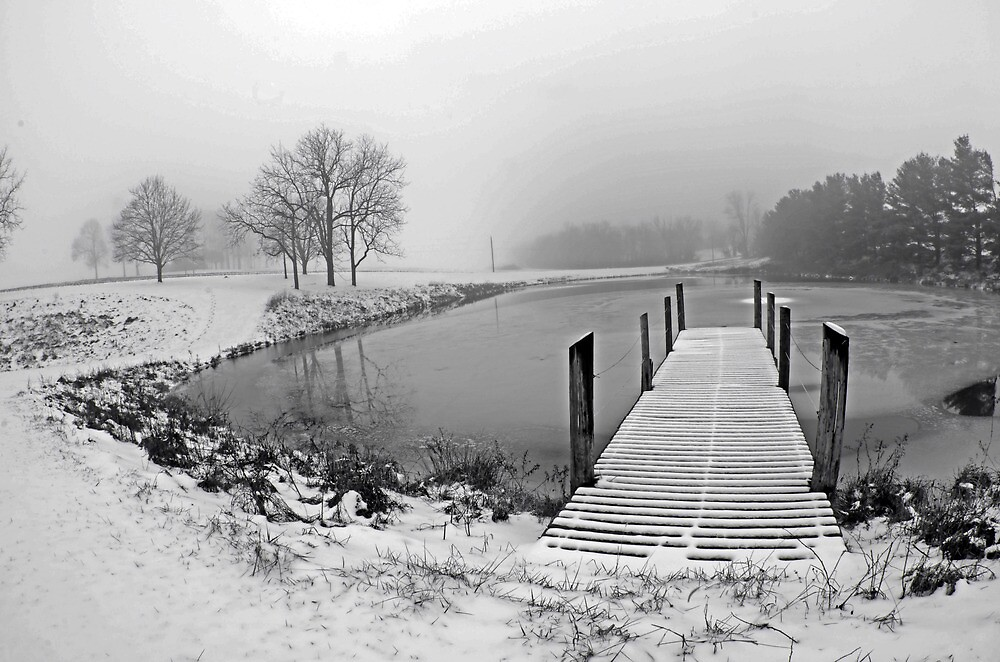 Snow Covered Pier by jpsphotoart